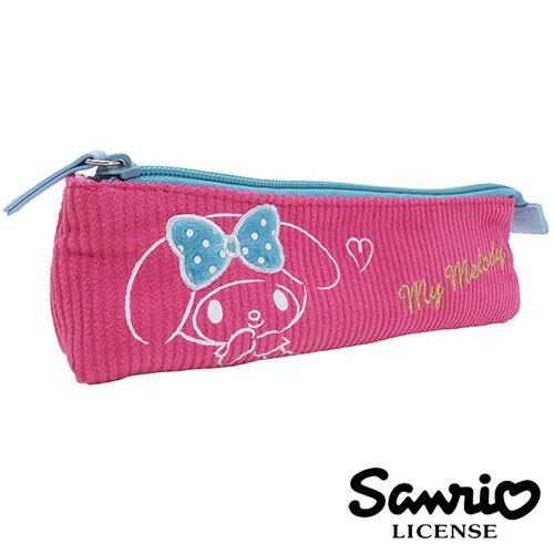 【  】美樂蒂 My Melody 燈芯絨 長型 筆袋 鉛筆盒 三麗鷗 Sanrio - 418526