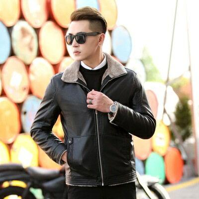 皮衣夾克外套-冬季毛領純色休閒男夾克2色73pn16【獨家進口】【米蘭精品】 2