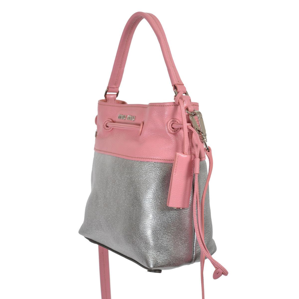 Miu Miu Women's Two Tone Leather Bucket Handbag Shoulder Bag 4