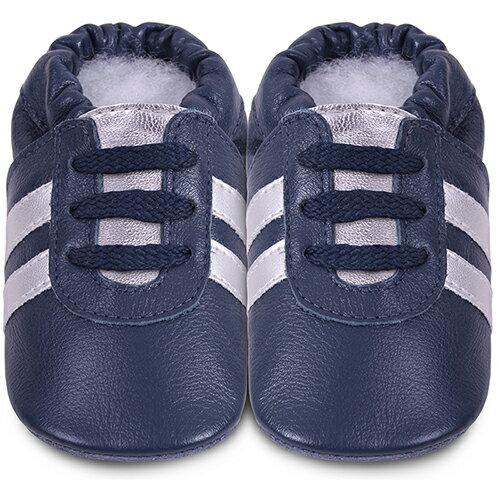 【hella 媽咪寶貝】英國 shooshoos 安全無毒真皮手工鞋/學步鞋/嬰兒鞋_海軍藍銀鞋帶運動型_101072 (公司貨)