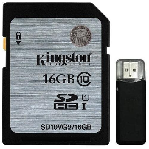 Kingston 16GB SDHC 45MB/s UHS-I U1 Class 10 16G SD C10 full HD Flash Memory Card SD10VG2/16GB + OEM USB 2.0 Card Reader 0