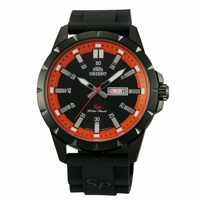 Orient 東方錶(FUG1X009B)運動石英錶腕錶/黑橘面43mm