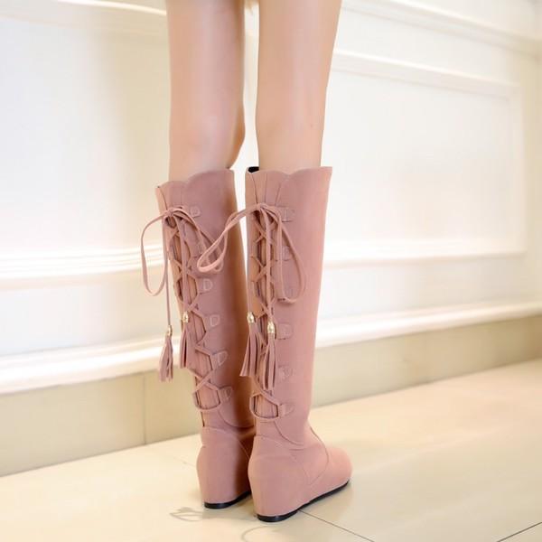 磨砂系帶內增高流蘇蝴蝶結平跟高筒靴子長靴女靴~黑  棕  黃  粉33~43~521374