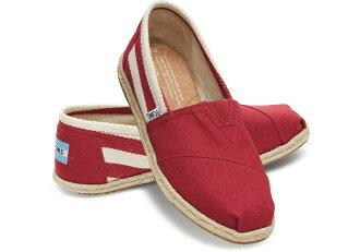 【TOMS】紅色寬條紋學院風平底鞋 Red Stripe University Women\