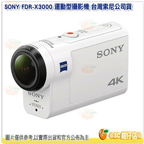 送64G 4K卡+副電+座充+自拍棒等好禮 SONY FDR-X3000 運動攝影機 台灣索尼公司貨 4K 光學防手震 X3000