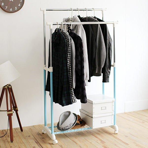 [tidy house]馬卡龍粉嫩雙桿衣架/曬衣架/吊衣架/收納架/掛衣架/置物架/衣櫥架 藍色HG22B-BU