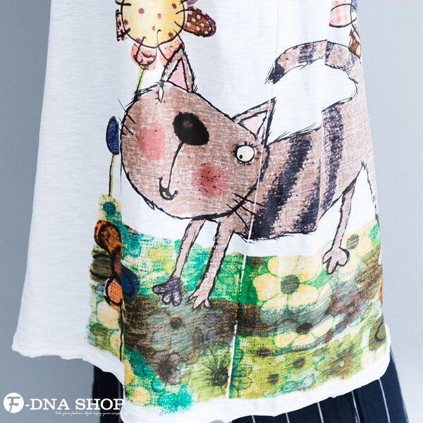 加大尺碼★F-DNA★插畫卡通貓短袖長版上衣(2色-均碼)【HG22008】 4