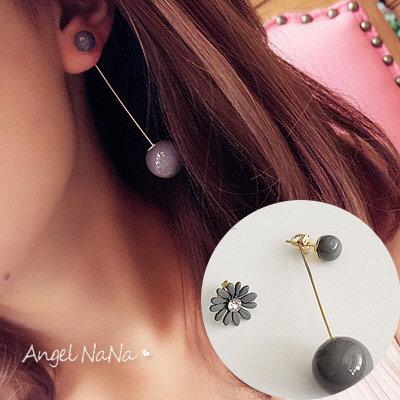 超取$299免運 |耳環。韓 個性 花朵圓球 不對稱 後掛式 女耳釘 耳墬【RA0025】