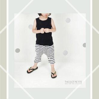 THE DOT PETITE中韓時尚童裝 男童短褲 白色橫條紋造型垮褲