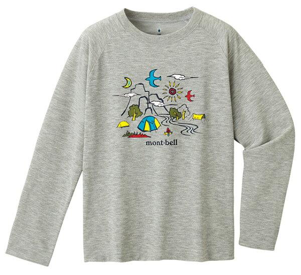 【mont-bell日本】WICKRON長袖保暖排汗衣兒童T恤機能衣兒童款(130-150cm)炭灰色/1114259