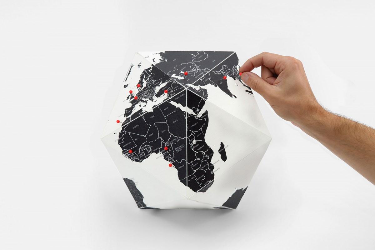 義大利Palomar 立體地球圖 Pin 世界 ~專屬旅行記憶 灰色版+圖釘