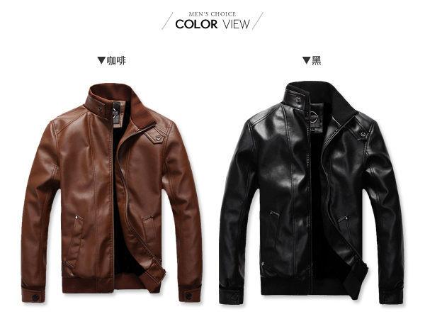 ☆BOY-2☆【NZ78015】軍裝皮衣外套素面羅紋 1