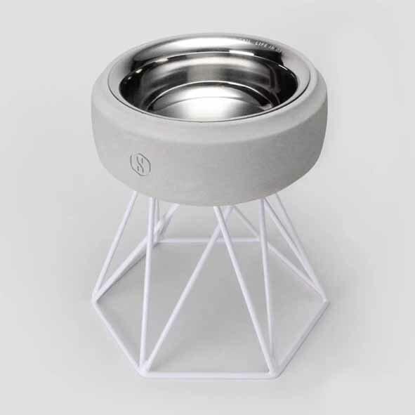 SPUTNIK 寵物碗架 Cozy Cement Bowl - 白水泥+白架(M2) Pet's Talk 2