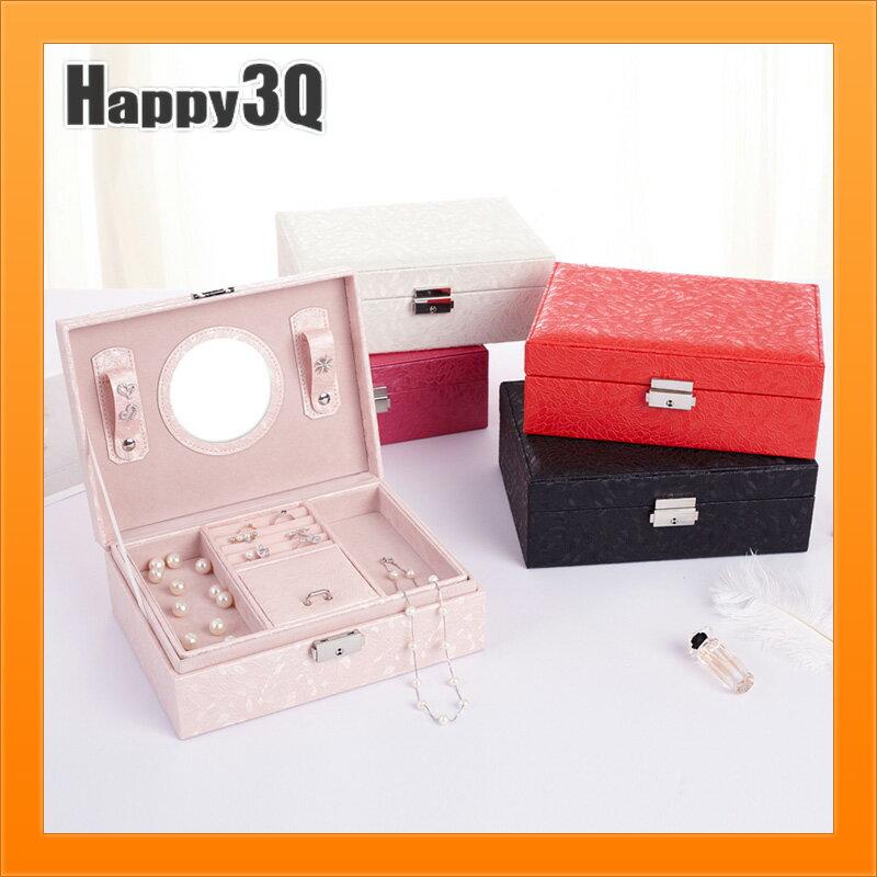 雙層首飾盒氣質公主風是品收納項鍊迷你化妝台附鏡子-白/黑/紅/粉/桃【AAA4449】