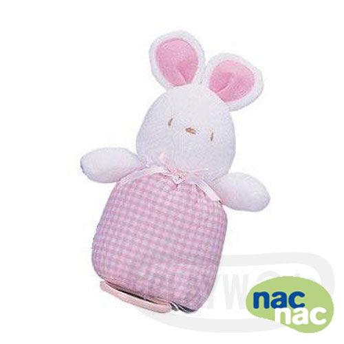 【Playwoods】[nac nac]粉紅 小兔子/兔頭 音樂鈴 娃娃 嬰兒 安全布質填充手玩Baby Soft Toy-Rabit/聖誕