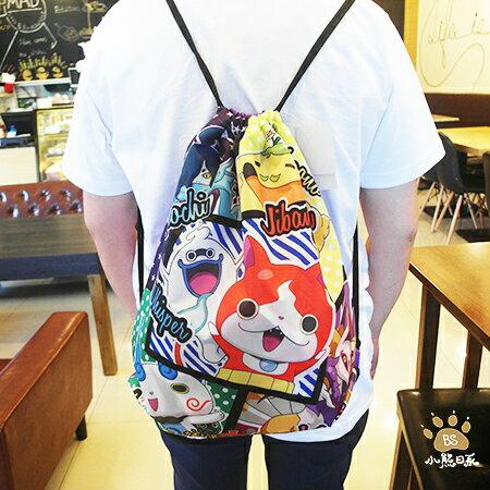 小熊日系* 妖怪手錶 後背包束口袋, 收納包收納袋外出袋旅行袋 角色款 單面印刷