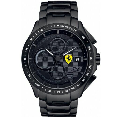 FERRARI 經典全黑鋼計時腕錶/44mm/0830087