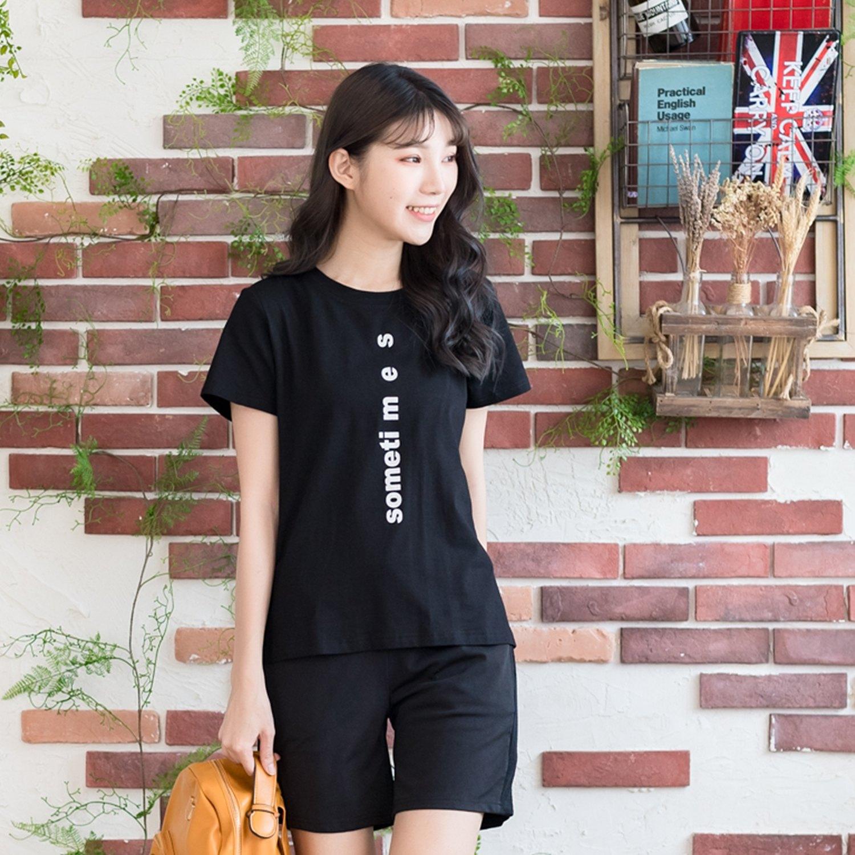 棉T--時尚個性風豎印字母寬鬆舒適修身百搭圓領短袖T恤(黑.藍L-4L)-T328眼圈熊中大尺碼 1