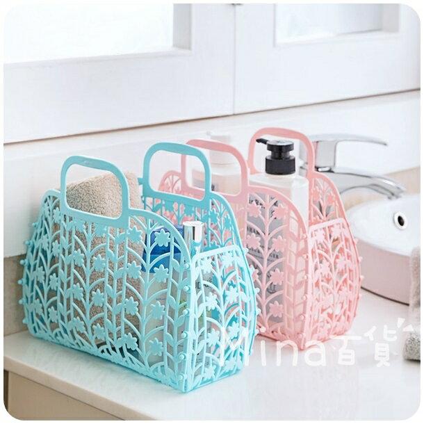 (mina百貨) 可折疊洗衣籃 塑料沐浴籃 手提籃 收納籃 洗漱收納籃 洗浴籃 F0134