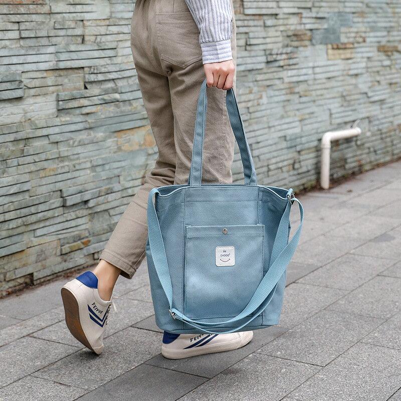 手提包帆布側背包-大容量簡約純色學院風女包包6色73xb4【獨家進口】【米蘭精品】
