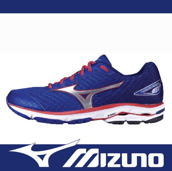【限時65折!】萬特戶外運動 MIZUNO J1GC160491男慢跑鞋WAVE RIDER 19 超寬楦 舒適 吸震 藍+紅色