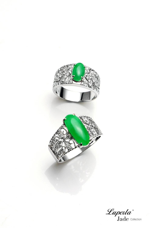 大東山珠寶 擁抱信仰 天然緬甸正陽綠A貨翡翠 頂級真鑽18K白金戒 4