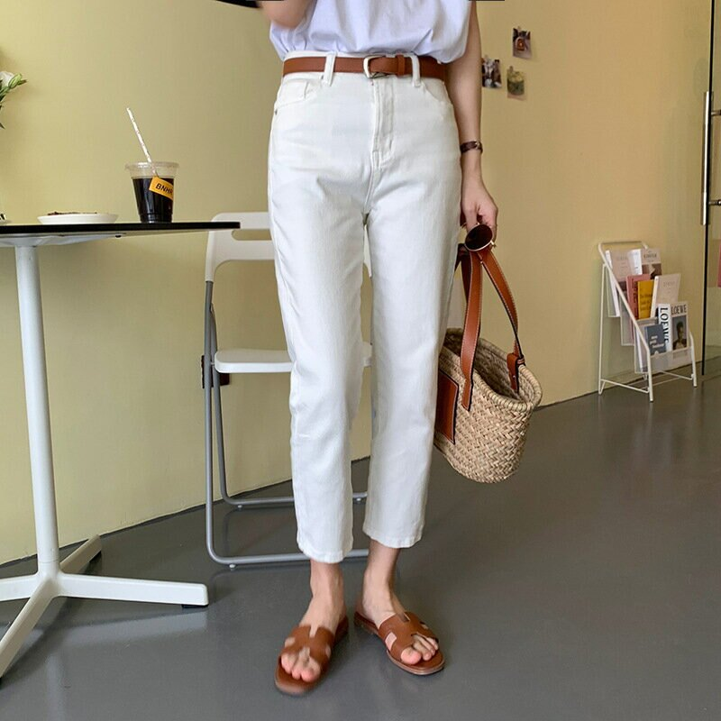 夏季高腰彈力直筒牛仔褲女2021韓版顯瘦九分休閒褲女