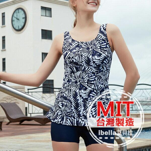 二件式泳裝 MIT 花朵高腰背心平口褲泳衣 附帽   ~36~66~85113~ibell