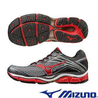 J1GC160262(炭灰*紅)一般型全腳掌吸震波浪片 WAVE ENIGMA 6 男慢跑鞋 A【美津濃MIZUNO】