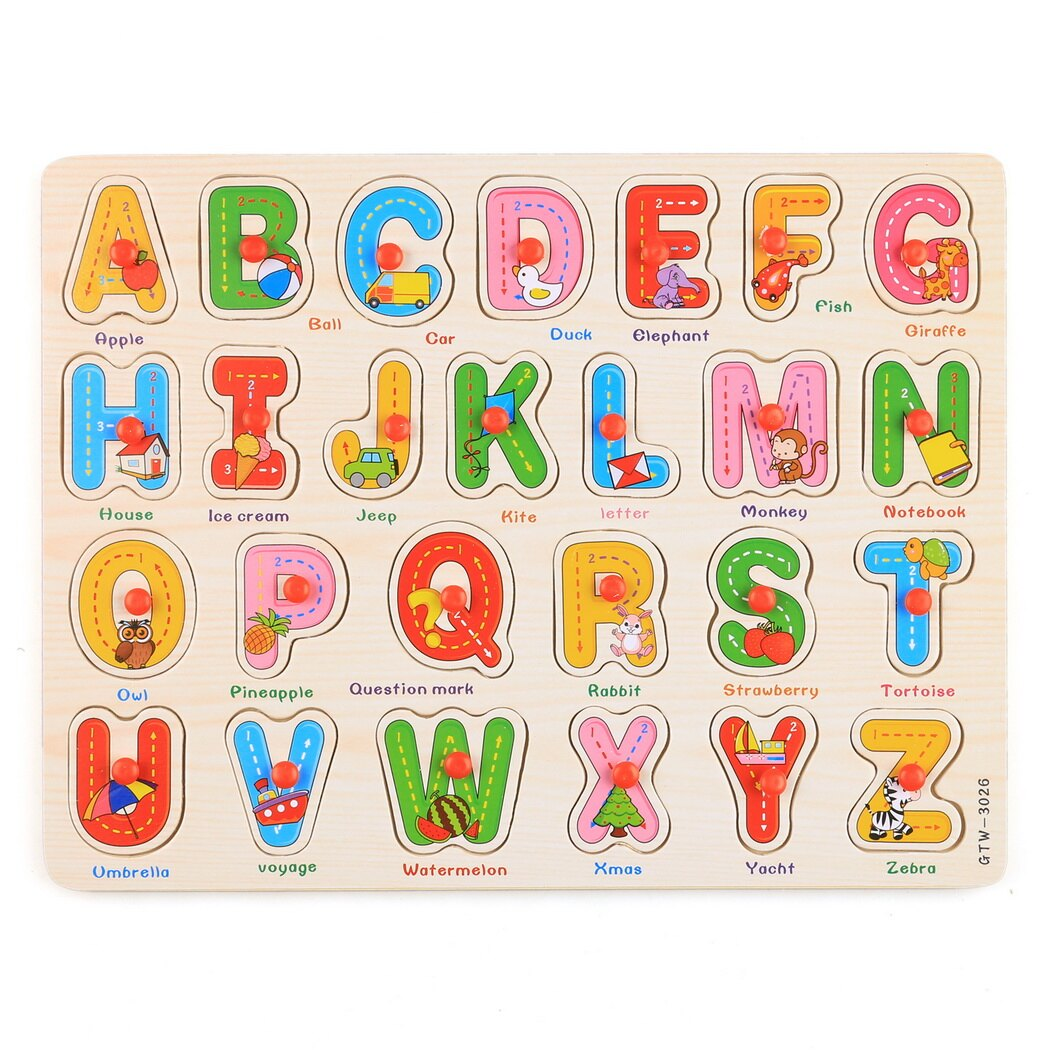 56pcs Wooden Toys Doug Deluxe Classic Peg Puzzle Bundle of 3 Puzzles Alphabet/number/Graph 3