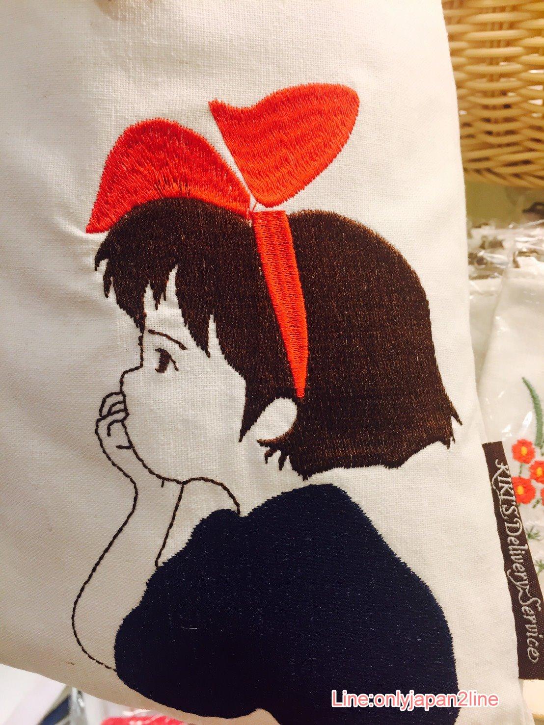 【真愛日本】17052600104 刺繡束口袋-琪琪側臉 宮崎駿 魔女宅急便 黑貓 奇奇貓 收納包 日本帶回