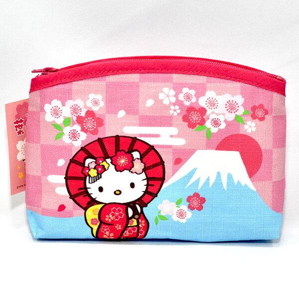 HelloKitty凱蒂貓與富士山綿質拉鍊化妝包錢包收納包日本製正版商品