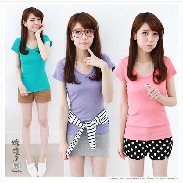 糖罐子純色V領羅紋棉衫→預購【E31260】 4