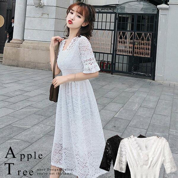 AT日韓-韓國,喇叭袖鬆緊腰花朵蕾絲洋裝2色【804047】
