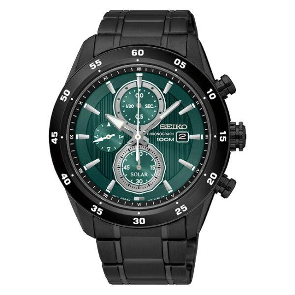 SeikocriteriaV176-0AR0G(SSC547P1)極致競速太陽能計時腕錶綠面43mm