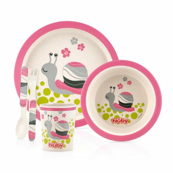 Nuby 竹纖維兒童學習餐具5件組-蝸牛【悅兒園婦幼生活館】