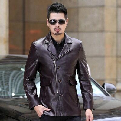 ★皮衣夾克外套-冬季西裝領純色薄款男夾克4色73pn3【獨家進口】【米蘭精品】 1