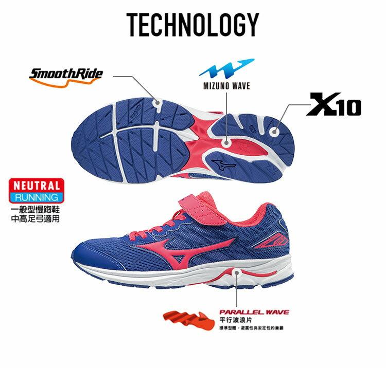 K1GC173160(深藍X暗紅)WAVE RIDER 20 Jr.V 黏貼帶式童鞋 A【美津濃MIZUNO】【品牌盛典 | 滿2000元結帳輸入序號『SUPERBRAND』再9折 | 滿1000元結帳輸入序號『SSthanks100』現折100元】 2