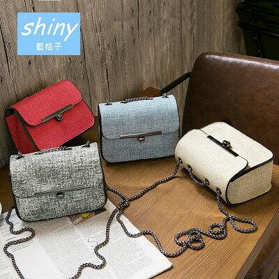 【P116】shiny藍格子-簡約時尚‧新款韓版迷你鏈條手機斜跨單肩小包