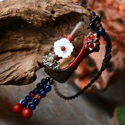 民族風瑪瑙毛衣鍊~ 編織貝殼花朵母親節情人節生日 女飾品73hf4~ ~~米蘭 ~