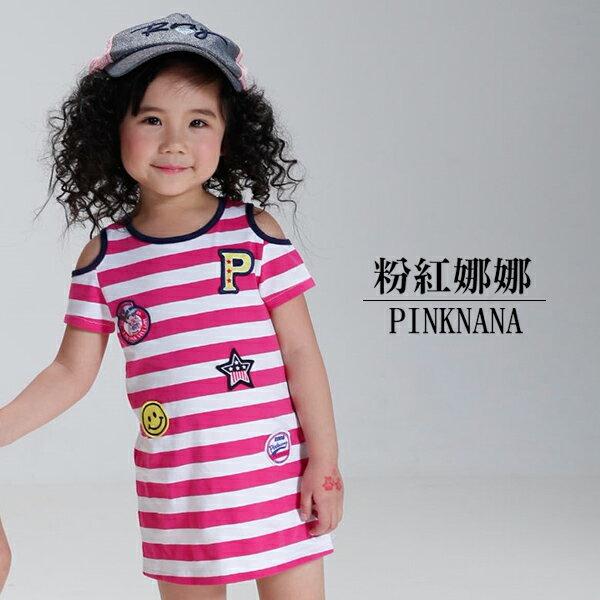 Pink Nana:PINKNANA童裝小童露肩條紋徽章甜美洋裝S33518