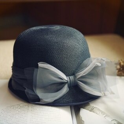 草帽手工編織盆帽-時尚優雅夢幻蝴蝶結女遮陽帽2色73si18【獨家進口】【米蘭精品】