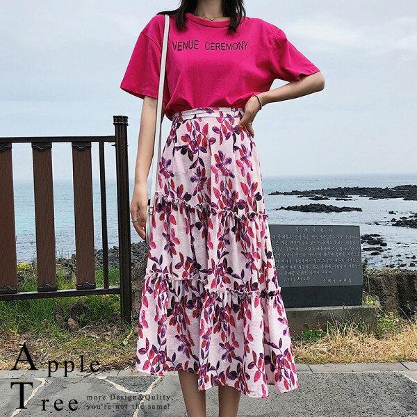 AT日韓-韓國,枚紅色T恤X印花長裙【806013】