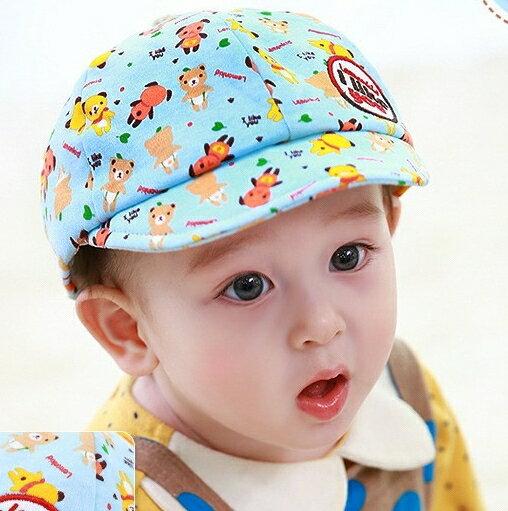 Lemonkid◆可愛滿版pp小熊字母刺繡貼標兒童舒適棉質鴨舌帽-藍色
