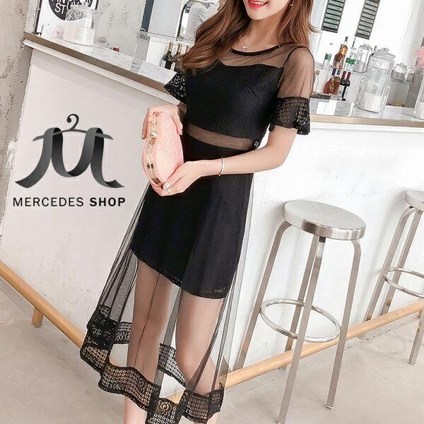 《全店75折》韓國性感透視蕾絲拼接中長款網紗連身裙短袖洋裝(S-XL,2色)-梅西蒂絲(現貨+預購)
