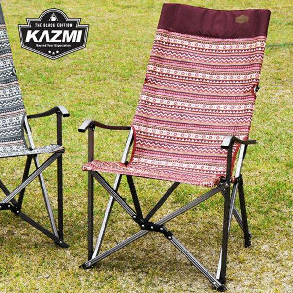 【露營趣】KAZMIK7T3C003WI彩繪民族風豪華休閒折疊椅(酒紅)摺疊椅休閒椅大川椅