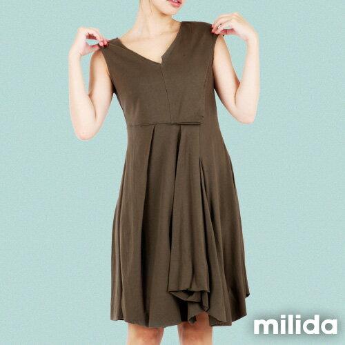 【Milida,全店七折免運】-夏季洋裝-無袖款-百搭V領百摺款 6