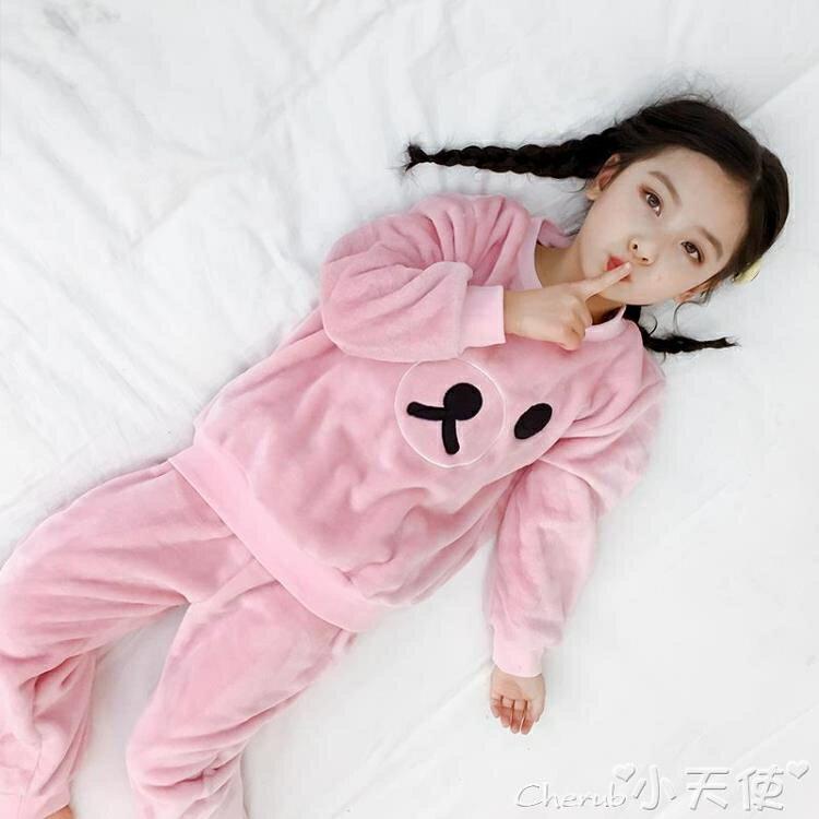 兒童睡衣 兒童法蘭絨睡衣秋冬裝女童家居服小女孩加厚款珊瑚絨套裝寶寶公主