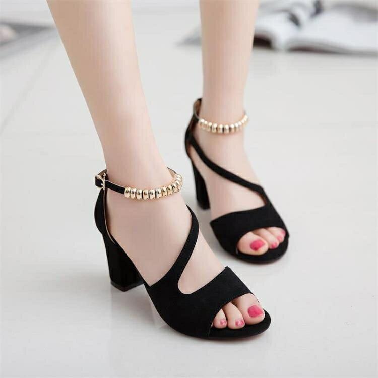 魚嘴涼鞋 夏季新款涼鞋女一字扣魚嘴粗跟高跟羅馬女鞋 家家百貨