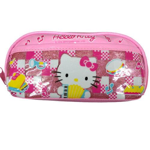 【真愛日本】15090100007 筆帶-閃亮PU樂器粉 文具 鉛筆盒 筆盒 生活雜貨 kitty 三麗鷗